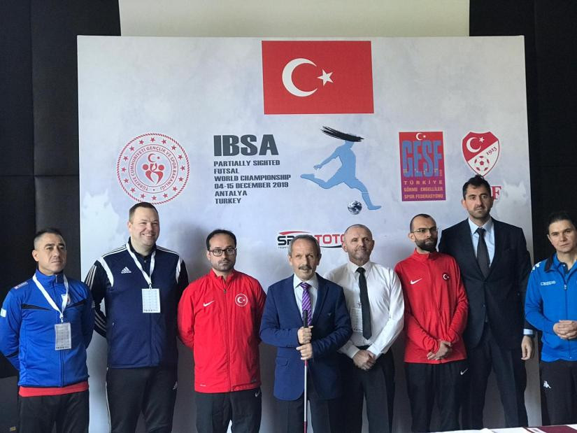A press conference was held before the competition began, with Turkish Blind Sports Federation President Hasan Sayyidan wishing the teams luck ©FutsalTurkey