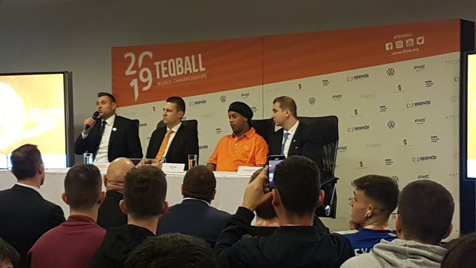"Ronaldinho thanks teqball fans for ""wonderful welcome"" at World Championships"