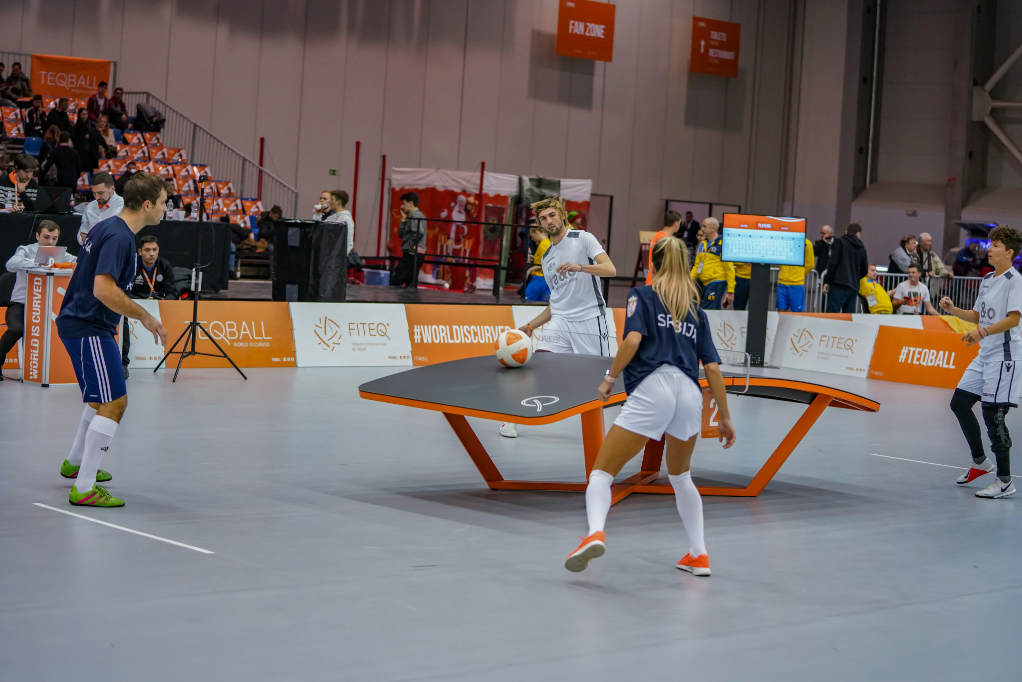 Competition took place during the day in the doubles and mixed doubles events ©FITEQ