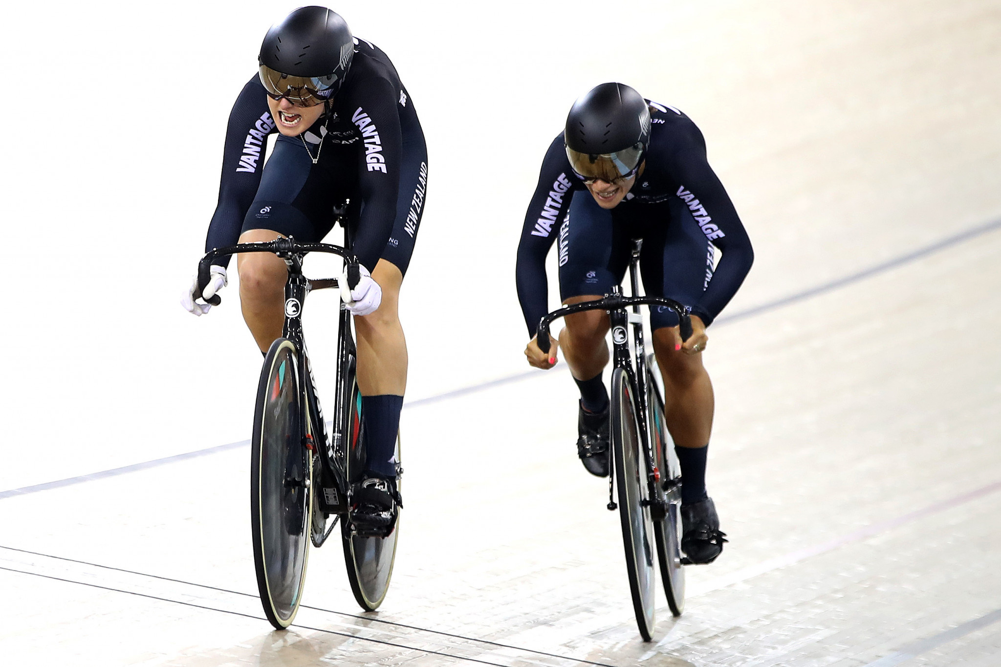 Olivia Podmore and Natasha Hansen of New Zealand were the victors in the women's team sprint ©Getty Images