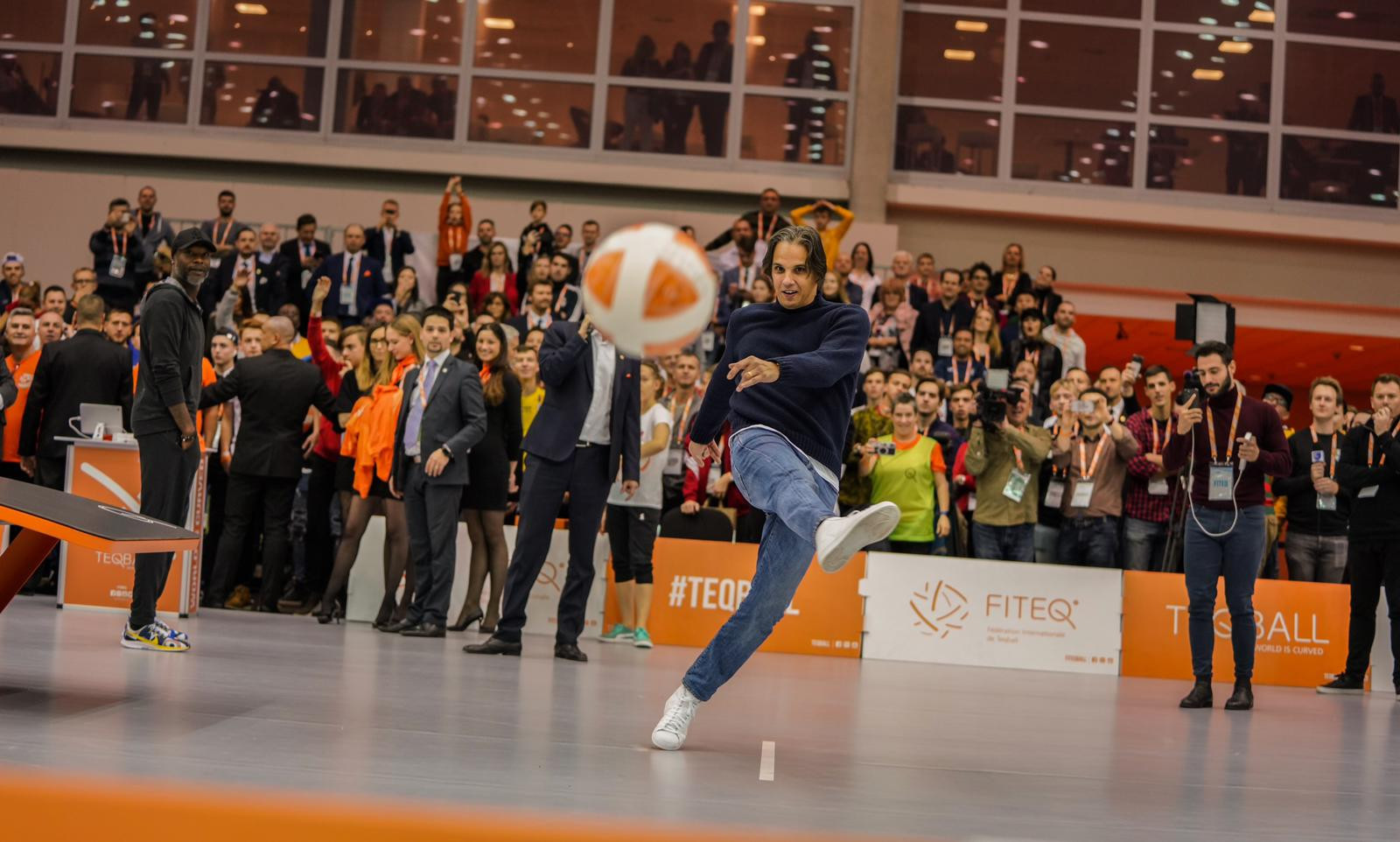 Footballing legends such as Nuno Gomes of Portugal were out in force on the second day of the Teqball World Championships ©FITEQ