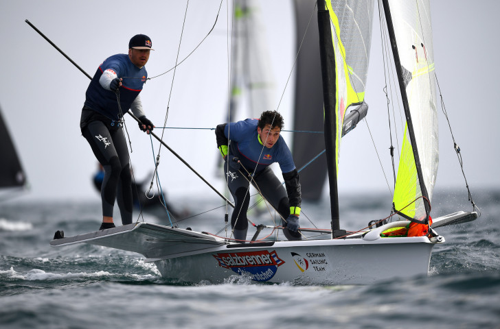 Germany's Erik Heil and Thomas Ploessel had to settle for silver in Auckland despite a late surge as home sailors Peter Burling and Blair Tuke earned a fifth world 49er title ©Getty Images