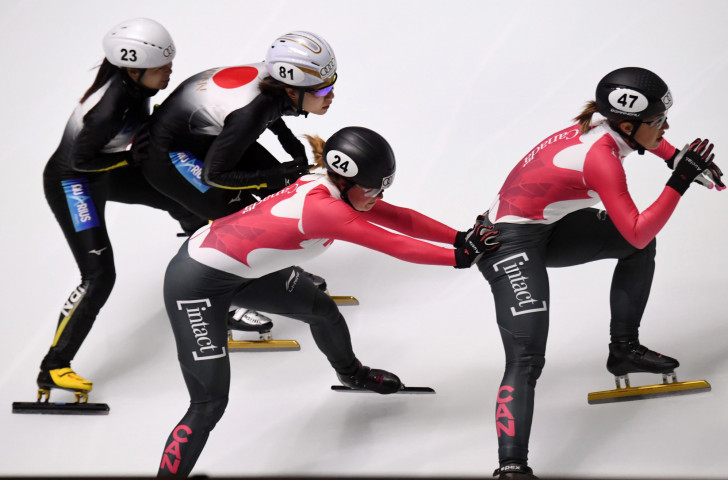 Kim Boutin, second right, helped Canada to gold in the women's 3000m relay on the final night of the ISU Short Track World Cup in Shanghai ©Getty Images
