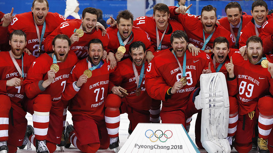 Russia's men won the Olympic gold medal at Pyeongchang 2018 competing under the controversial