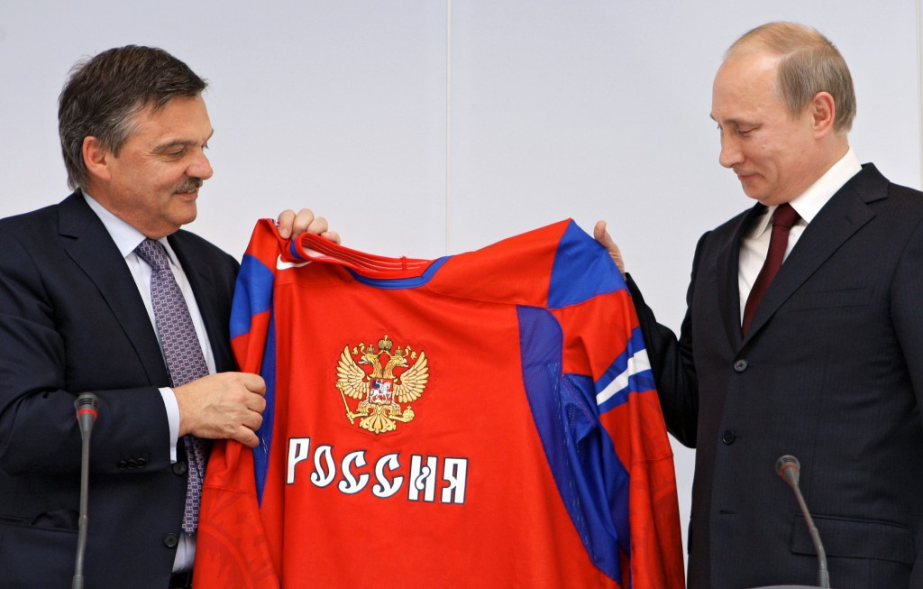 IIHF President René Fasel, left, wants Russia to compete in their famous red jerseys at the World Championships ©IIHF