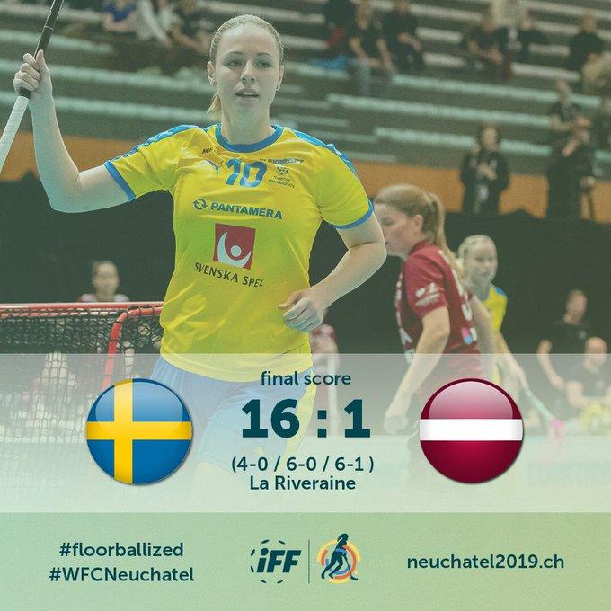 Sweden advance to Women's World Floorball Championships quarter-finals