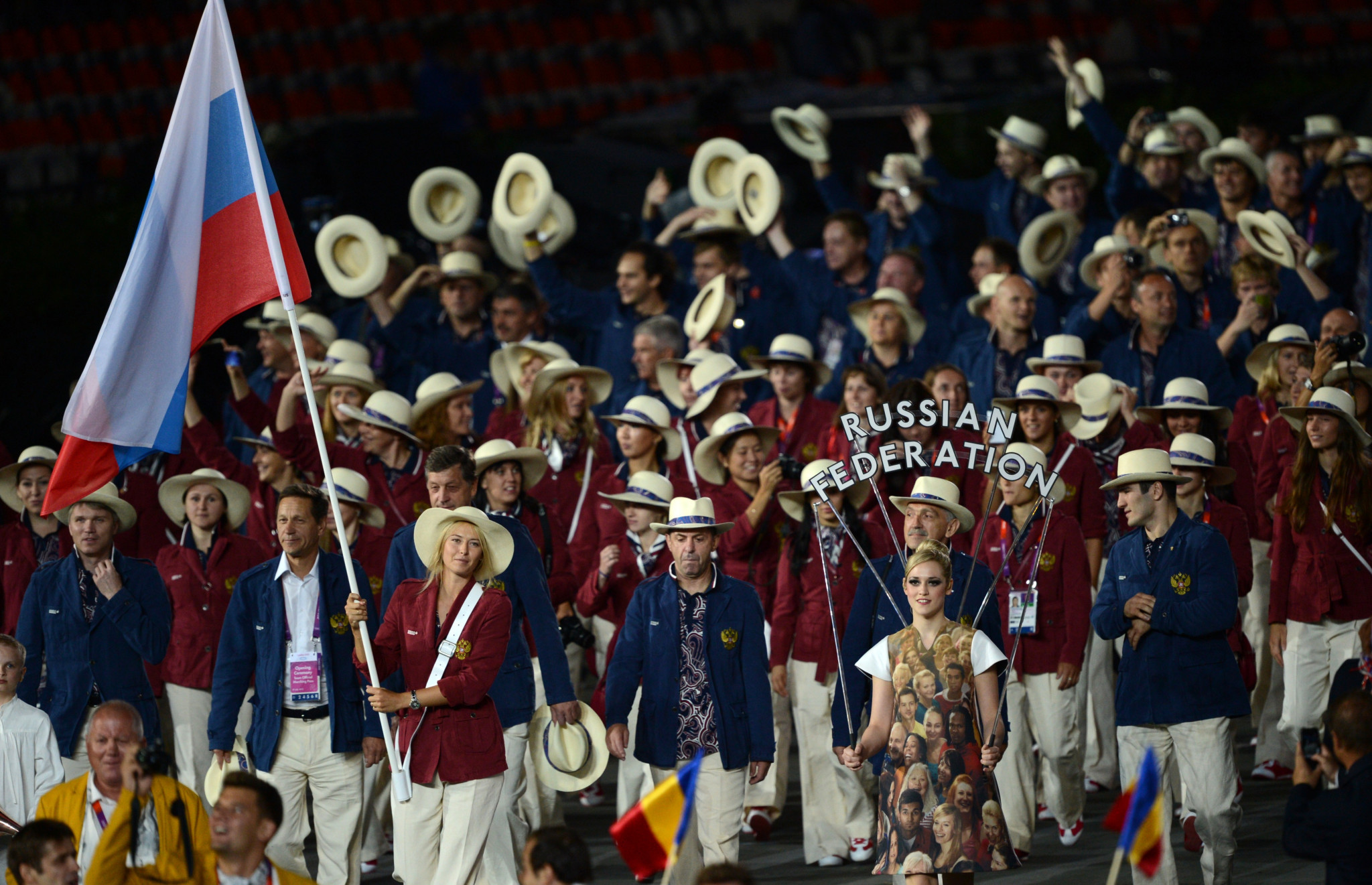 Maria Sharapova carried Russia's flag at the Opening Ceremony of London 2012 ©Getty Images