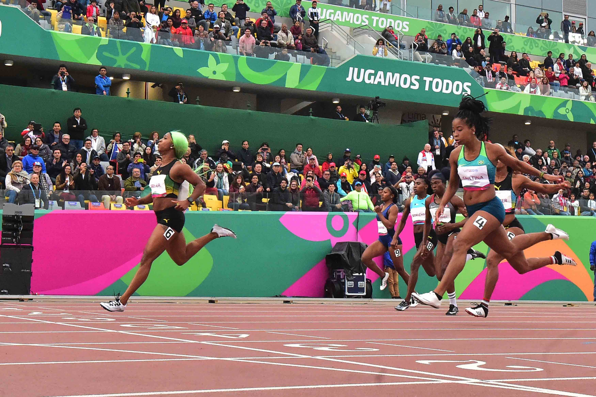 Jamaica's Shelly-Ann Fraser-Pryce, left, has been nominated for two prizes in the Panam Sports Awards after winning the 100 and 200m at the World Championships 