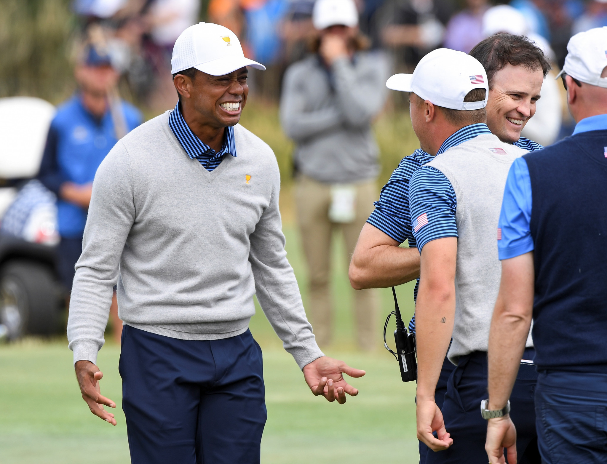 Player-captain Woods inspires United States fightback in Presidents Cup foursomes