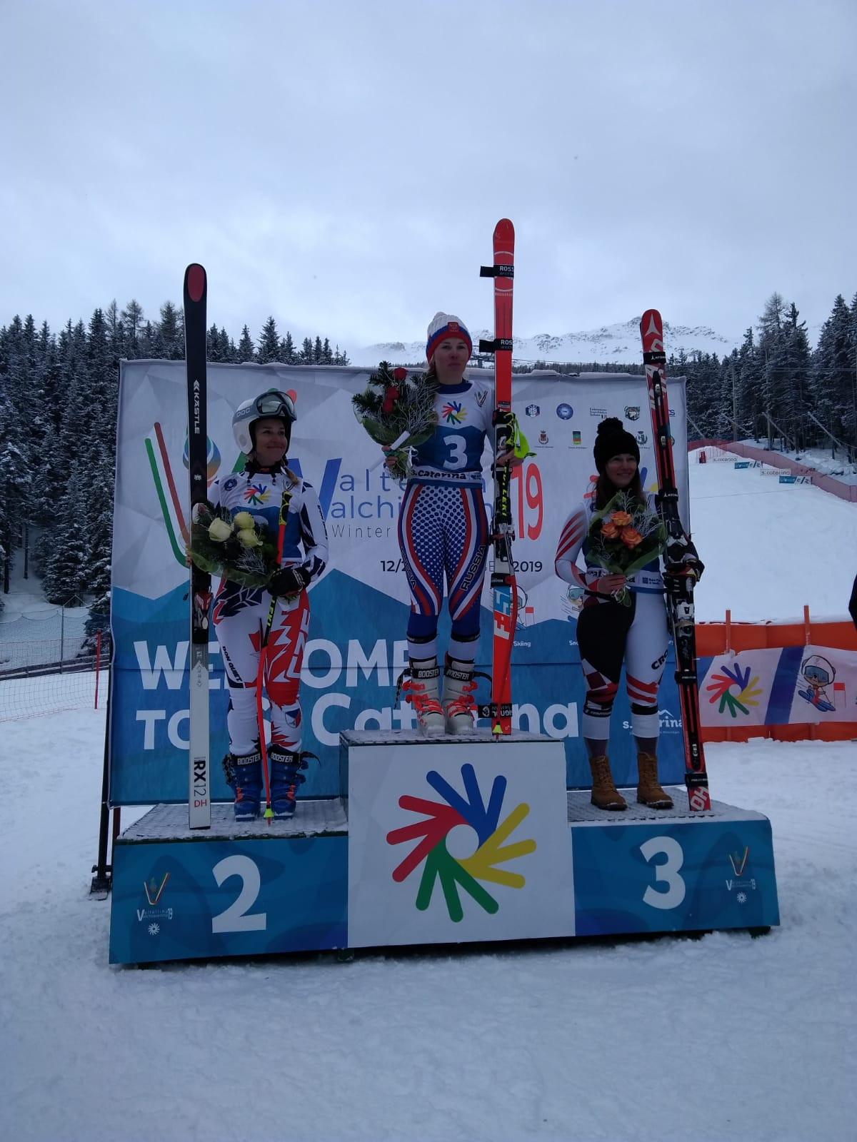 Russia's Elena Yakovishina topped the women's downhill podium ©Deaflympics 2019