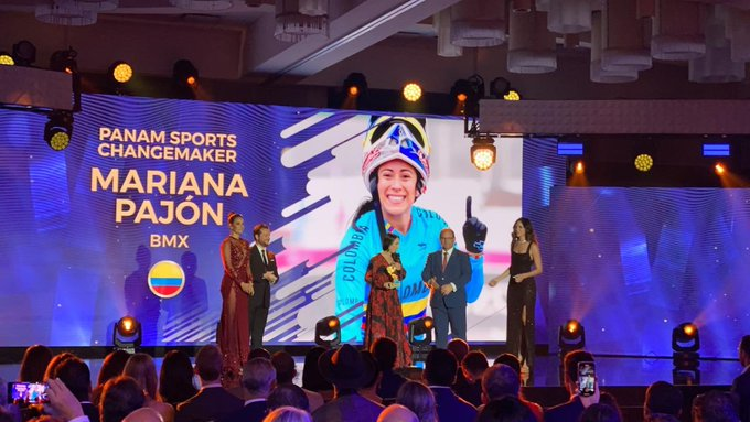 Colombian cyclist Mariana Pajon was honoured for the work of her foundation ©Twitter/coparaguay