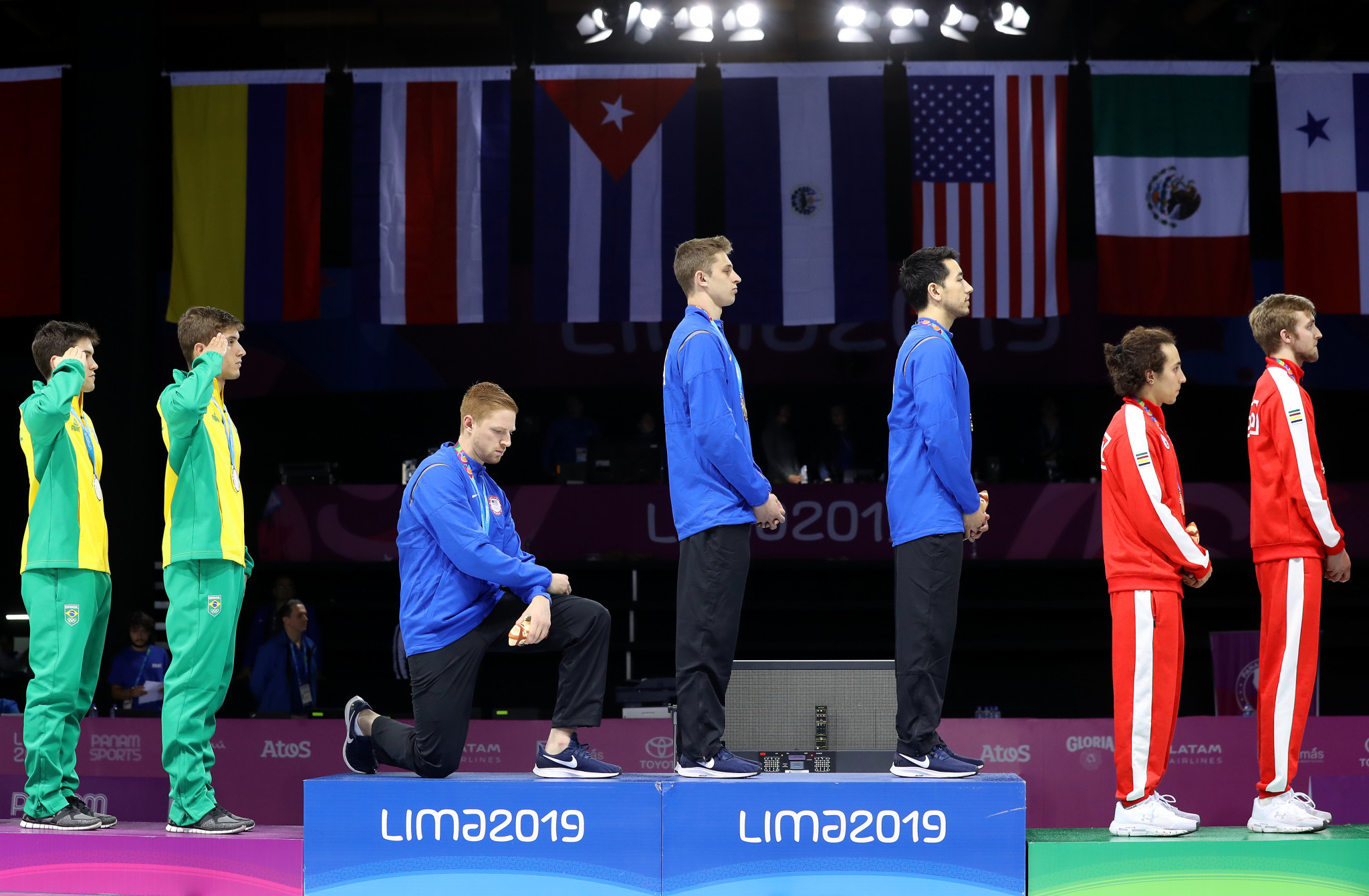 American fencer Race Imboden was reprimanded after taking a knee at the 2019 Pan American Games in Lima ©Getty Images