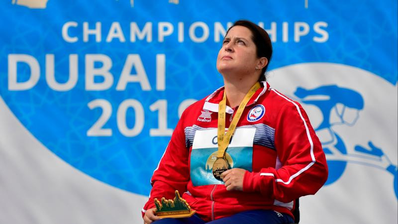 Chilean Francisca Mardones achieved gold in the women's shot put F54 at the World Para Athletics Championships to be nominated ©APC