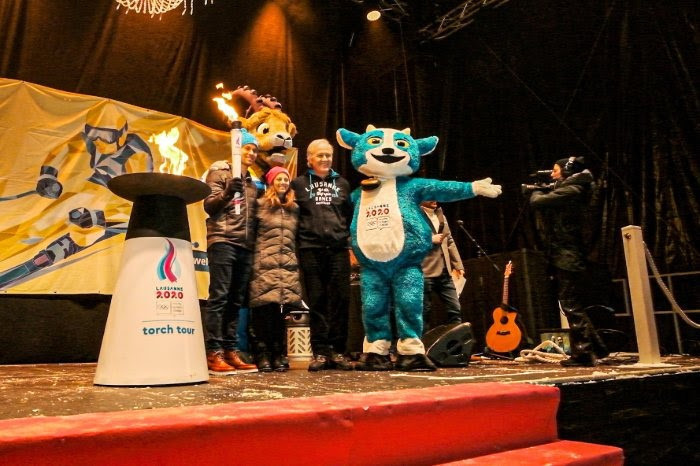 The Lausanne 2020 flame has arrived in St Moritz ©Lausanne 2020