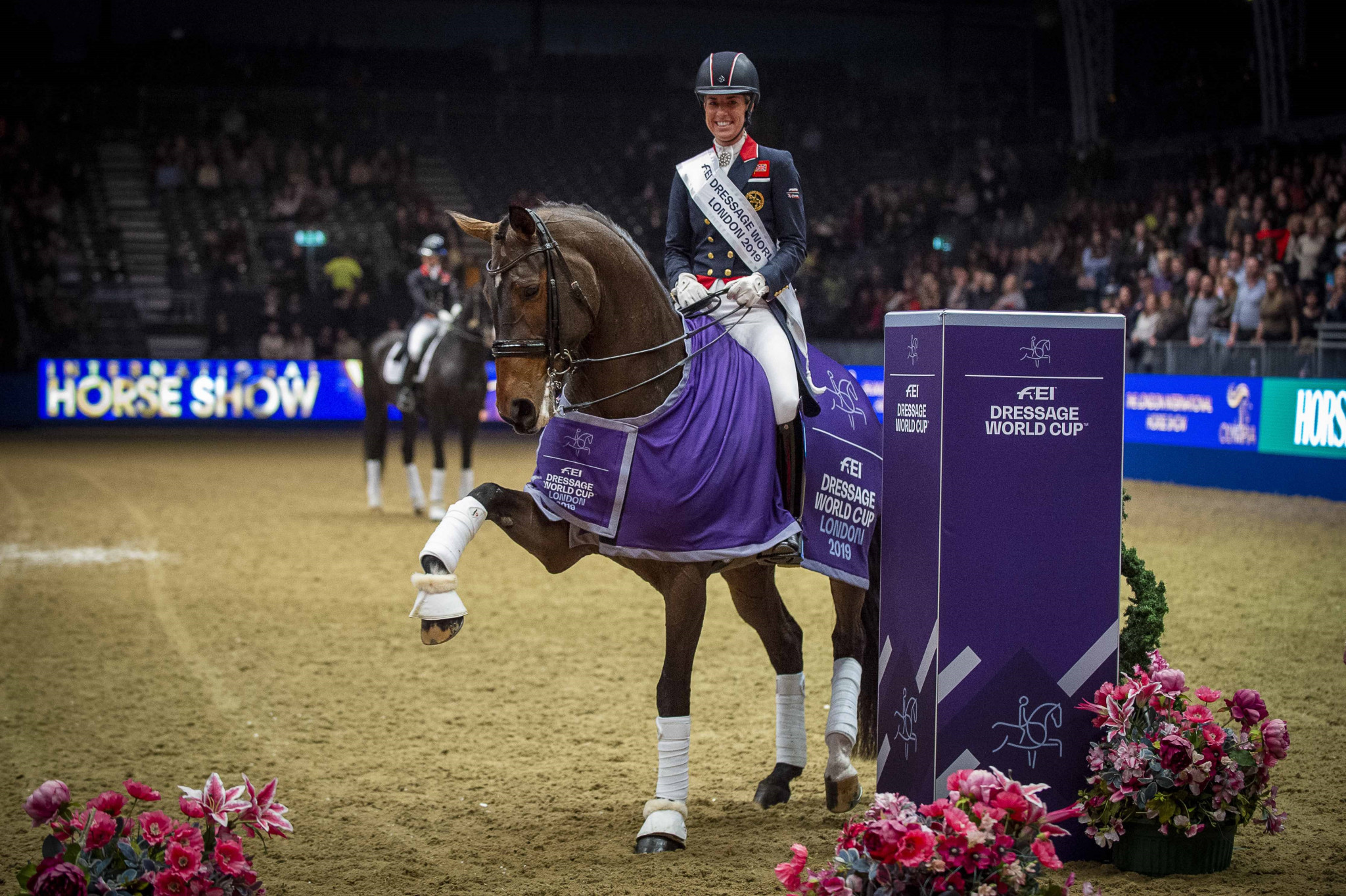 Great Britain's Charlotte Dujardin produced a superb victory with Mount St John Freestyle in the sixth leg of the 2019-2020 FEI Dressage World Cup Western European League in London ©FEI/Jon Stroud