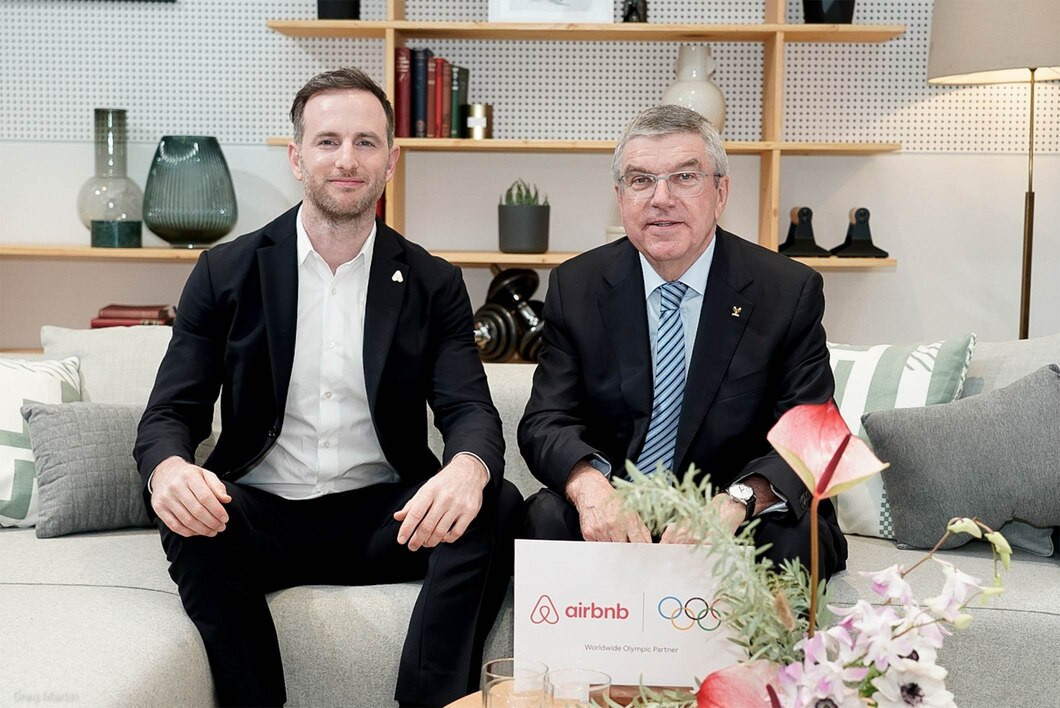 IOC President Thomas Bach, right, and Airbnb's co-founder Joe Gebbia announced last month the US rental platform had become a worldwide Olympic partner - a deal that has had dramatic consequences for Paris 2024 ©IOC