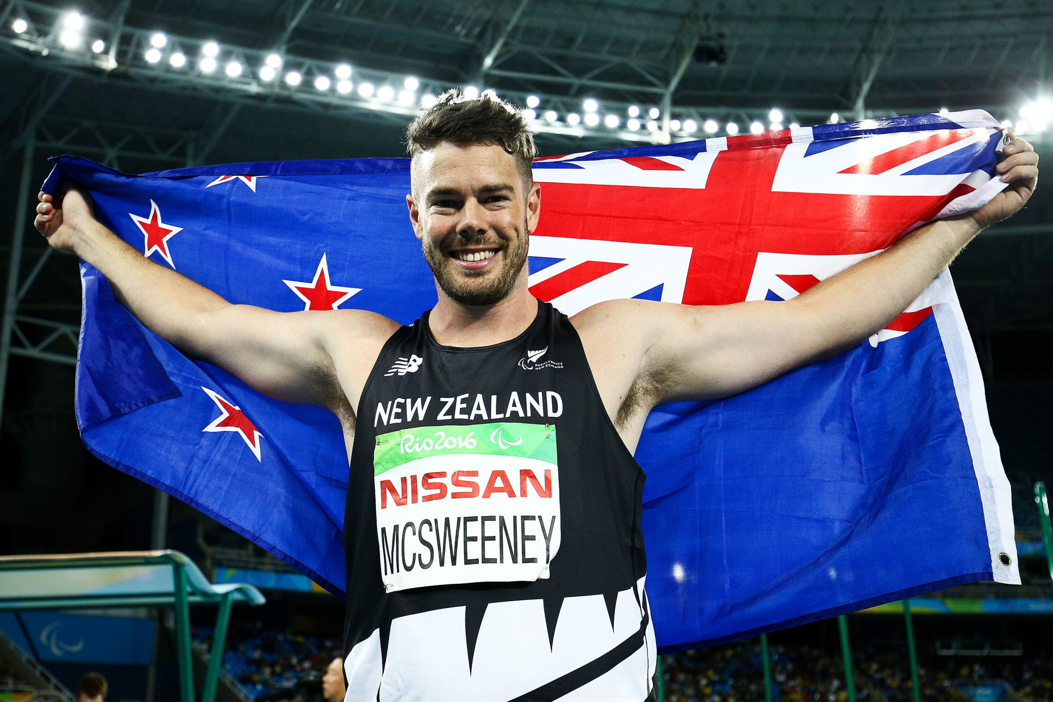 New Zealand's Rory McSweeney celebrates his Paralympic Games bronze medal at Rio 2016 ©Getty Images