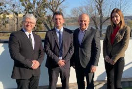 EUSA President Adam Roczek, third from left, noted the steady progress being made in preparation for next year's European Universities Games during a recent four-day visit to Serbia ©EUSA