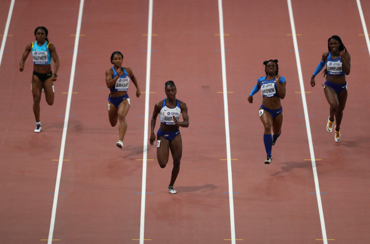 The decision of Jamaica's world 100m champion Shelly-Ann Fraser-Pryce to double over 100 and 200m at the Tokyo 2020 Games will be of interest to Britain's Dina Asher-Smith, pictured winning the world 200m title in Doha ©Getty Images