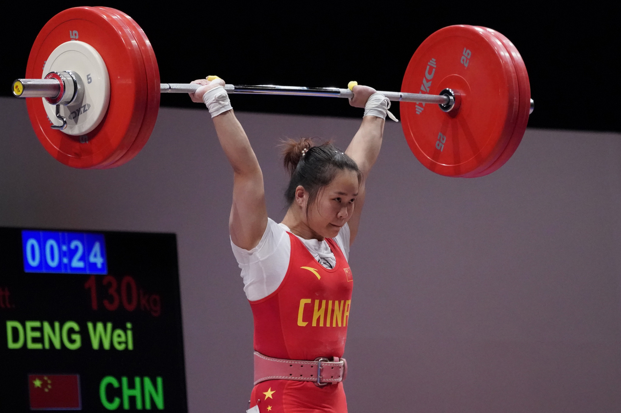 Deng Wei became the first weightlifter, male or female, to pass the 5,000-point mark in Olympic qualification ©Getty Images