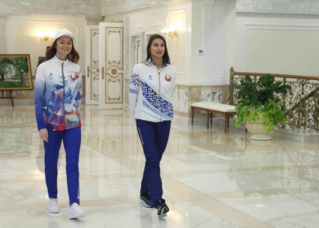 Belarus double Olympic rhythmic gymnastics medallist Ksenia Sankovich and former swimmer Aliaksandra Herasimenia wore the possible kits for Tokyo 2020 at the presentation ceremony ©NOC RB