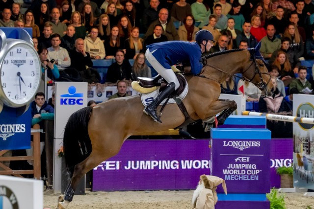 Daniel Deusser of Germany won the ninth leg of the FEI Jumping World Cup Western European League ©FEI