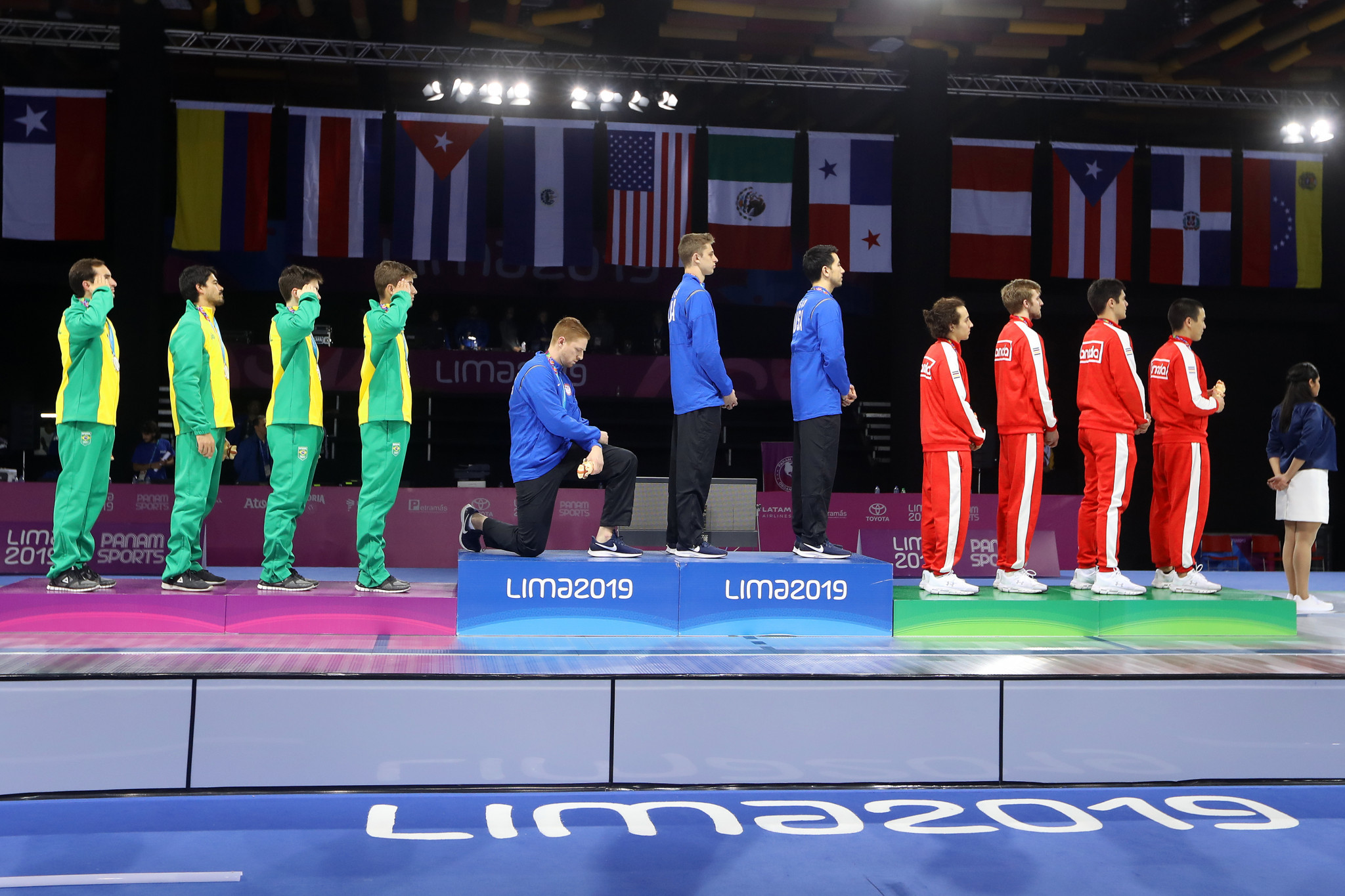 Race Imboden protested on the podium during the 2019 Pan American Games in Lima ©Getty Images