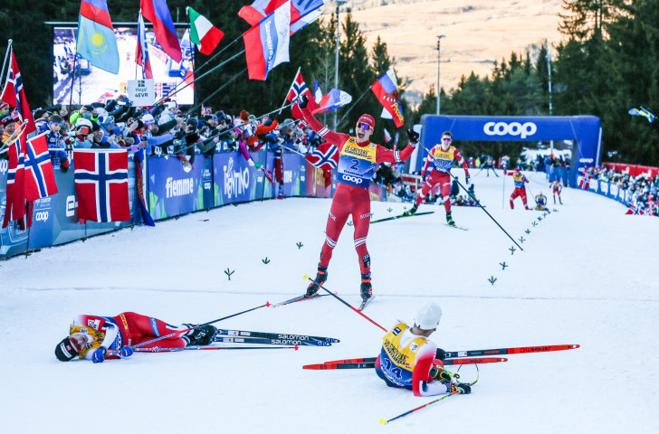 Russia's Alexander Bolshunov takes third place in today's men's 10km final climb mass start event at Val di Fiemme in Italy to secure the overall Tour de Ski title ©Getty Images
