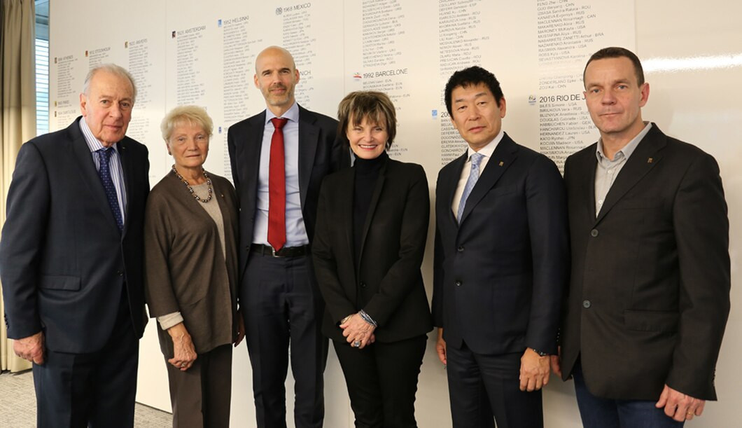 The Gymnastics Ethics Foundation is chaired by former Swiss President Micheline Calmy-Rey, third from right ©FIG