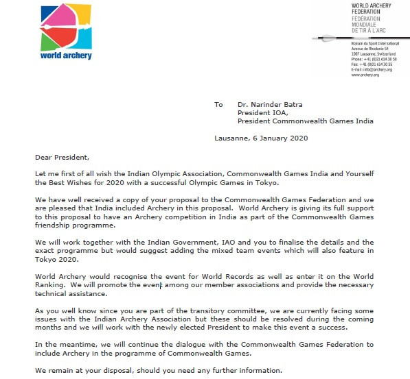 World Archery lent its support to the proposal in a letter to the Indian Olympic Association ©ITG