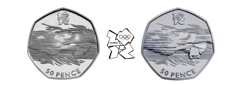 A rare version of the swimming 50p coin - on the left - produced by the Royal Mint is highly sought after by collectors and last year one sold at auction for £590 ©Royal Mint