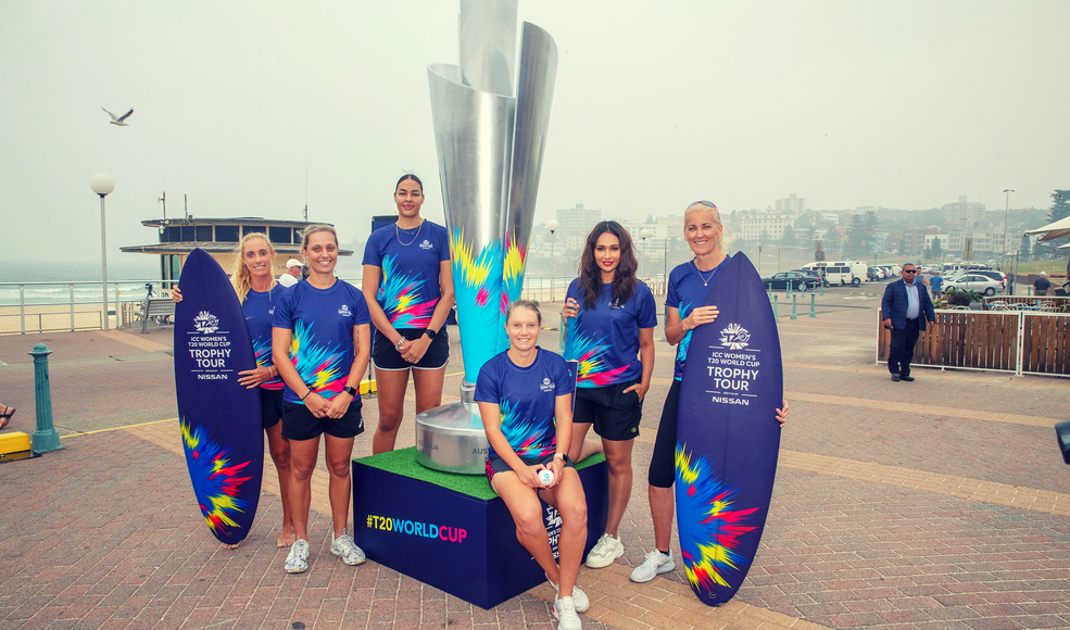 ICC Women's T20 World Cup trophy tour launches at Bondi Beach