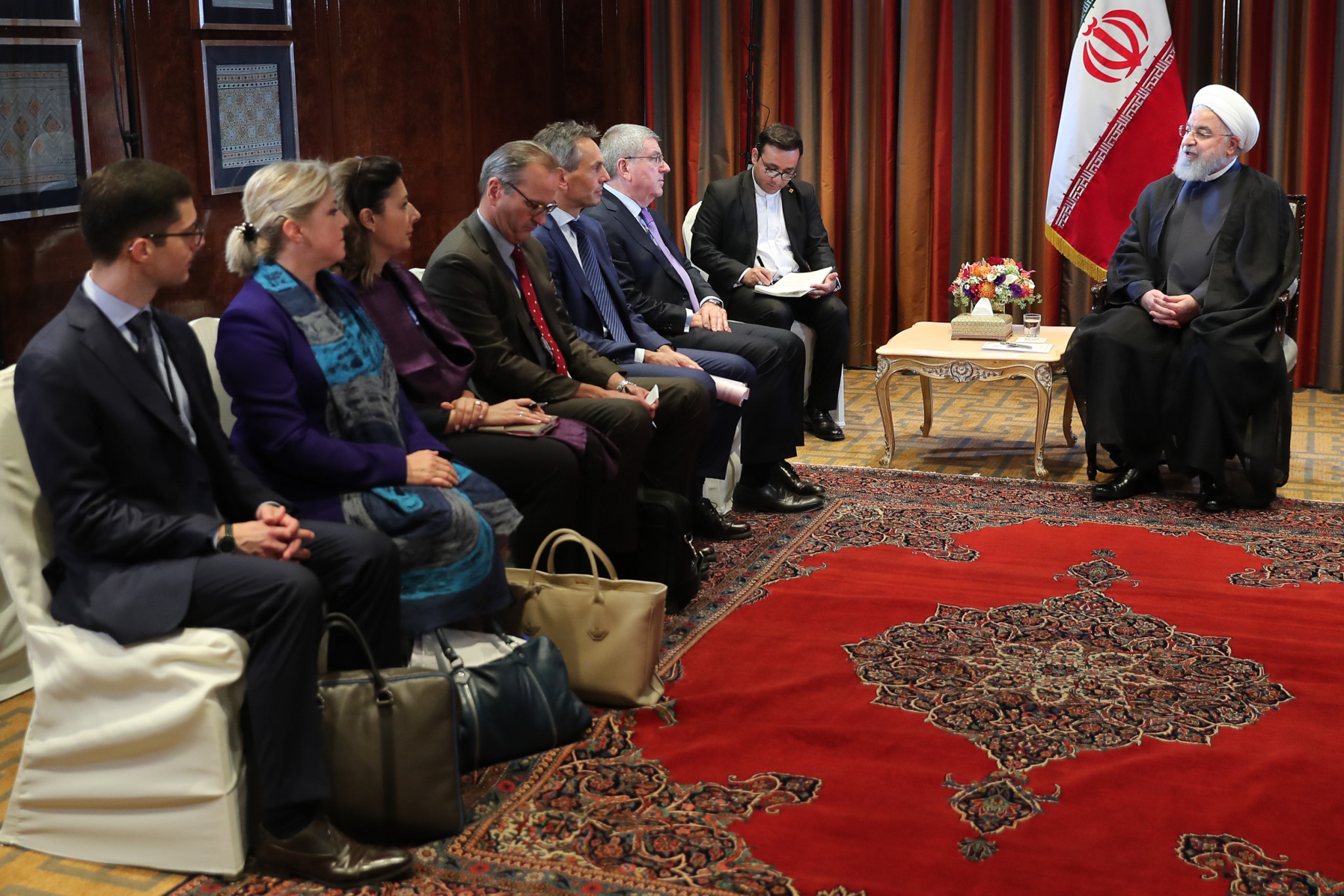 IOC officials, led by Thomas Bach, held talks with Iranian President Hassan Rouhani during a visit to the United Nations in New York City in September 2018 ©IOC
