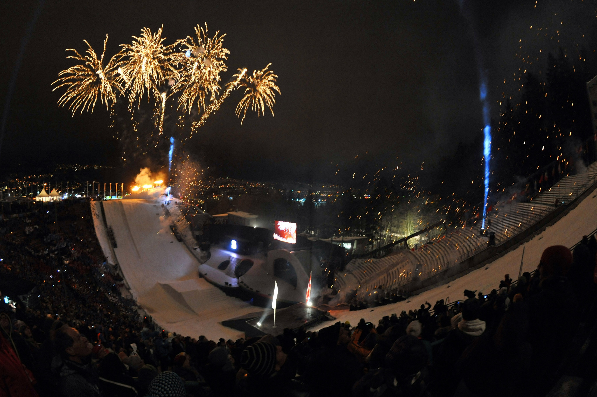 The Innsbruck 2012 Opening Ceremony took place in a vast ski-jumping bowl ©Getty Images