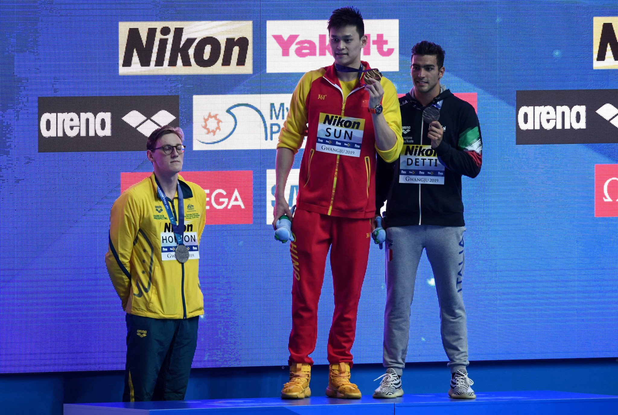 Mack Horton of Australia protested against China's Sun Yang at the World Aquatics Championships in Gwangju ©Getty Images