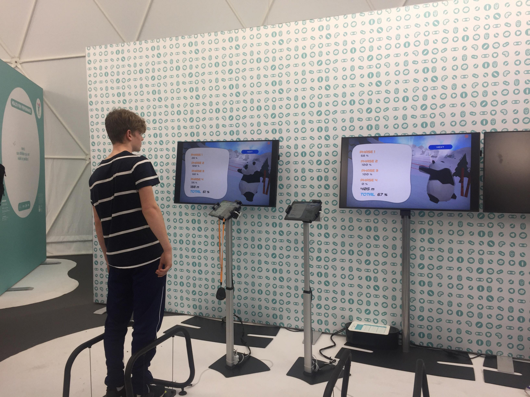 Users of the Health for Performance application can test their balance and coordination on connected treadmills ©ITG