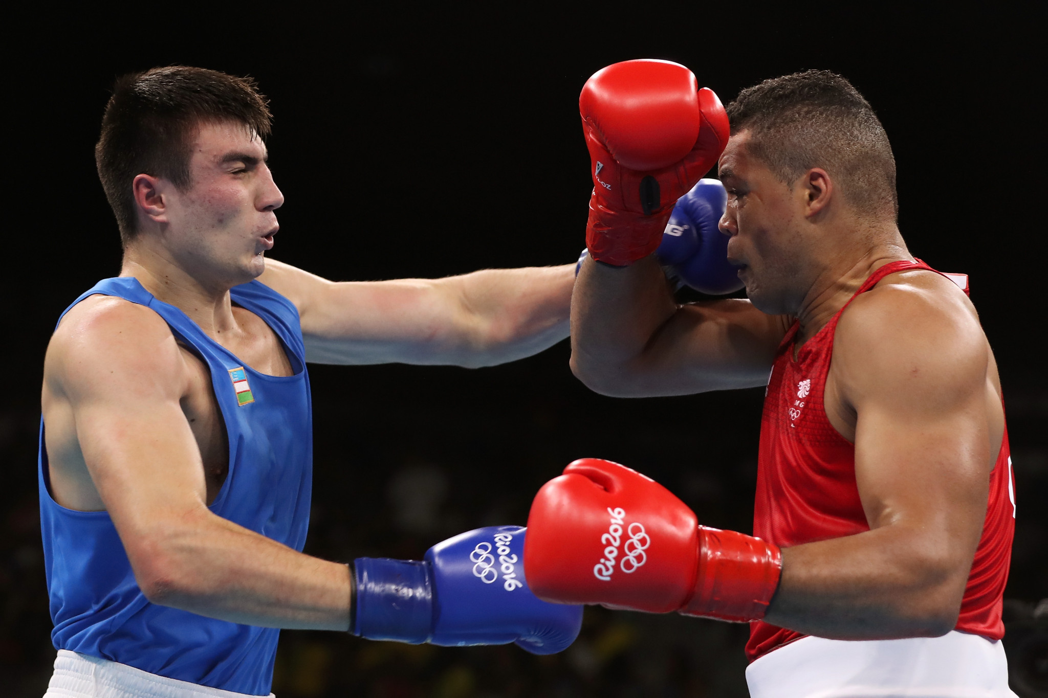 Bakhodir Jalolov, left, has been named Uzbekistan's Male Athlete of 2019 at a ceremony in Tashkent ©Getty Images
