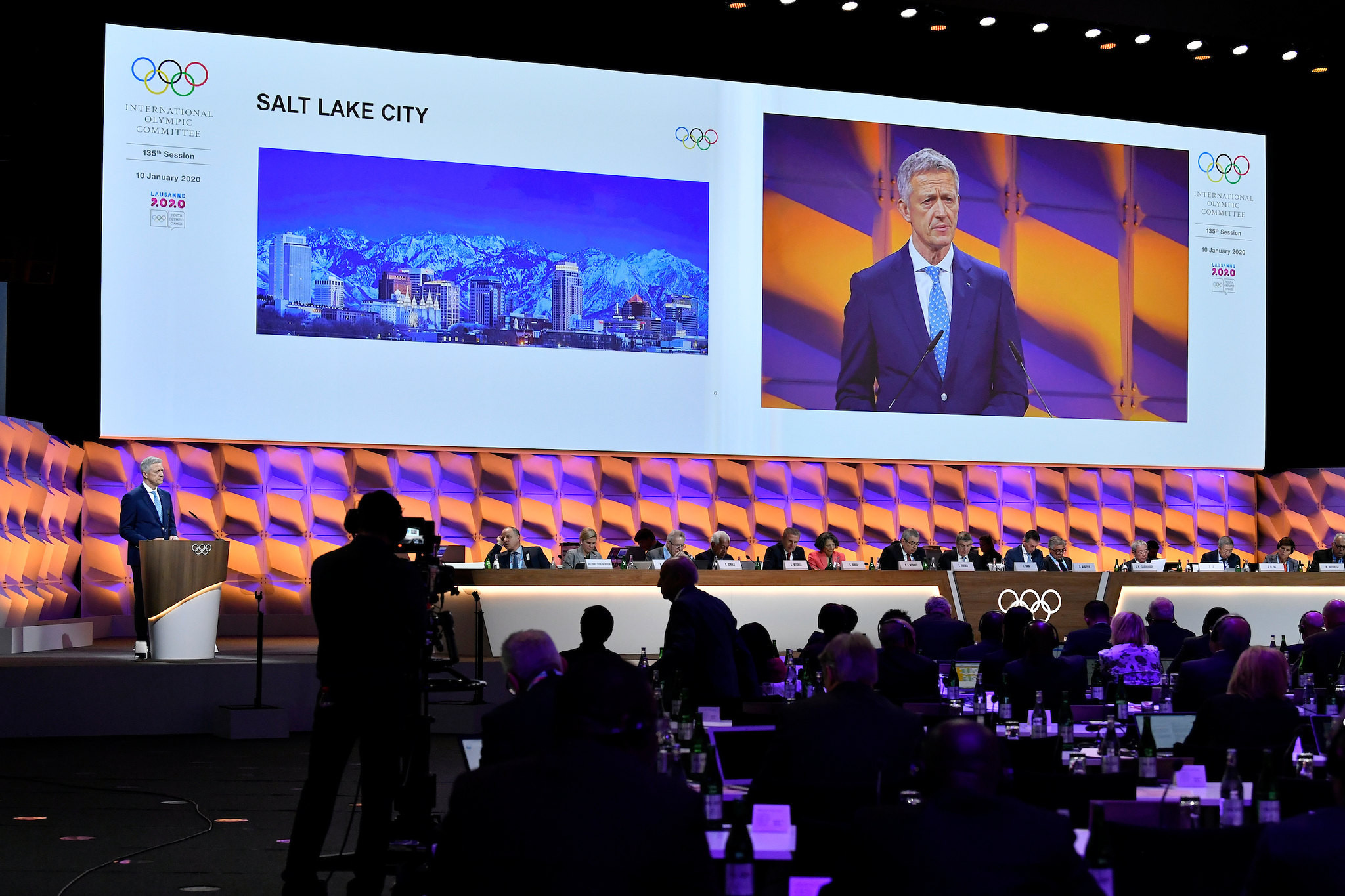 IOC Future Winter Host Commission chairman Octavian Morariu updated the IOC Session on potential Winter Olympic city bidders ©IOC