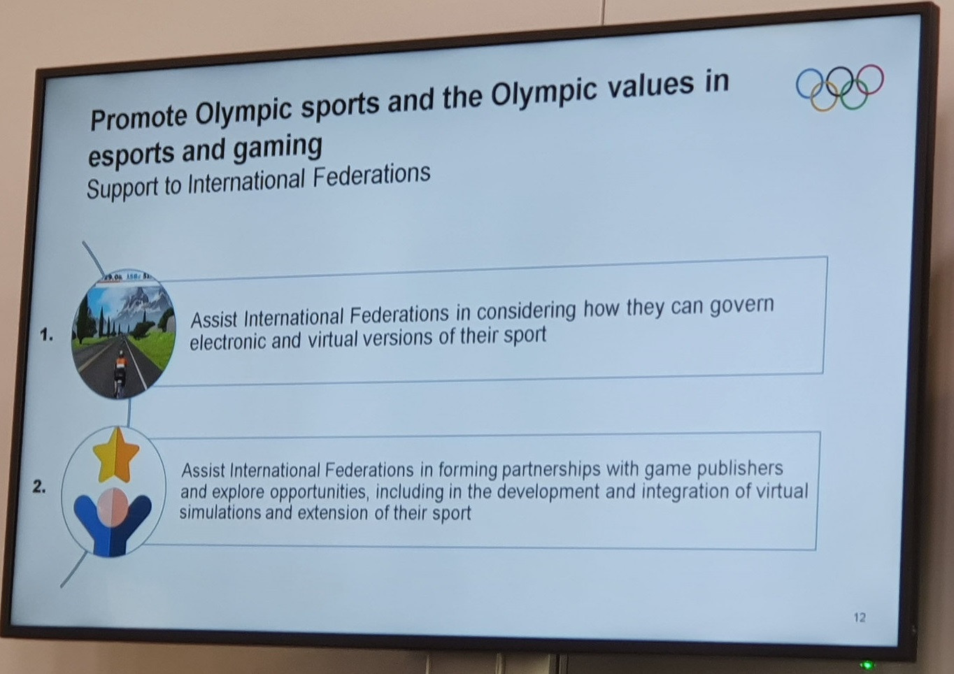 International Cycling Union President and esports liaison group chair David Lappartient gave his recommendations about engaging with the gaming community to the IOC Session ©ITG