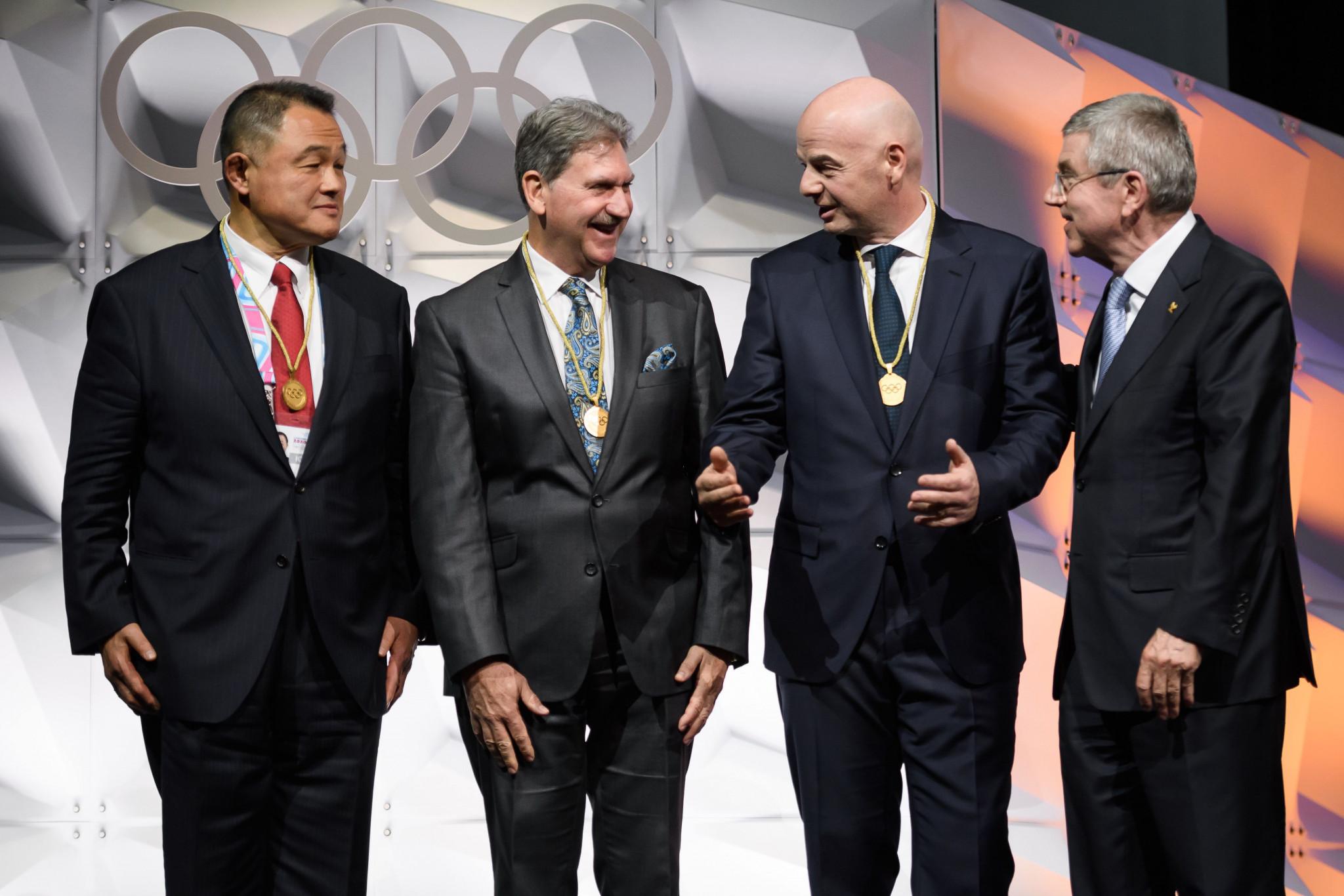 Japanese Olympic Committee (JOC) President Yasuhiro Yamashita and ITF President David Haggerty also joined the IOC ©Getty Images