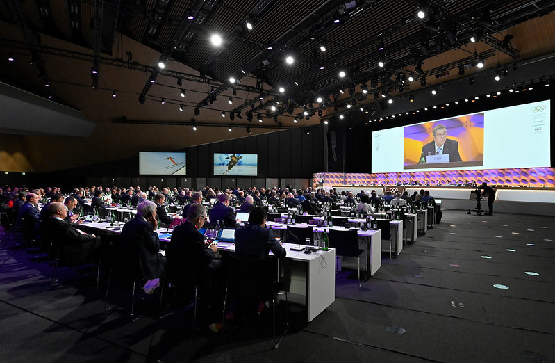 IOC President Thomas Bach called for political neutrality during his report ©IOC