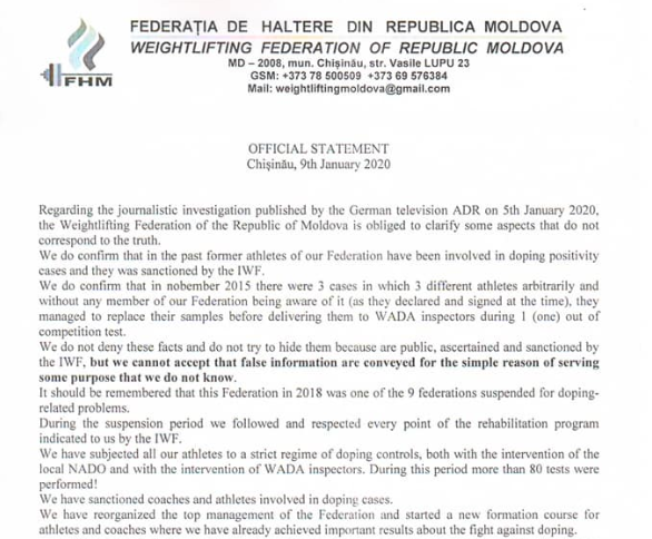 An excerpt from the Moldova Weightlifting Federation statement refuting that they were implicit in some of the country's top competitors using