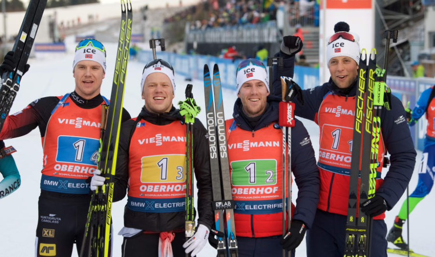 The Norwegian squad held of the challenge of France and Germany ©IBU