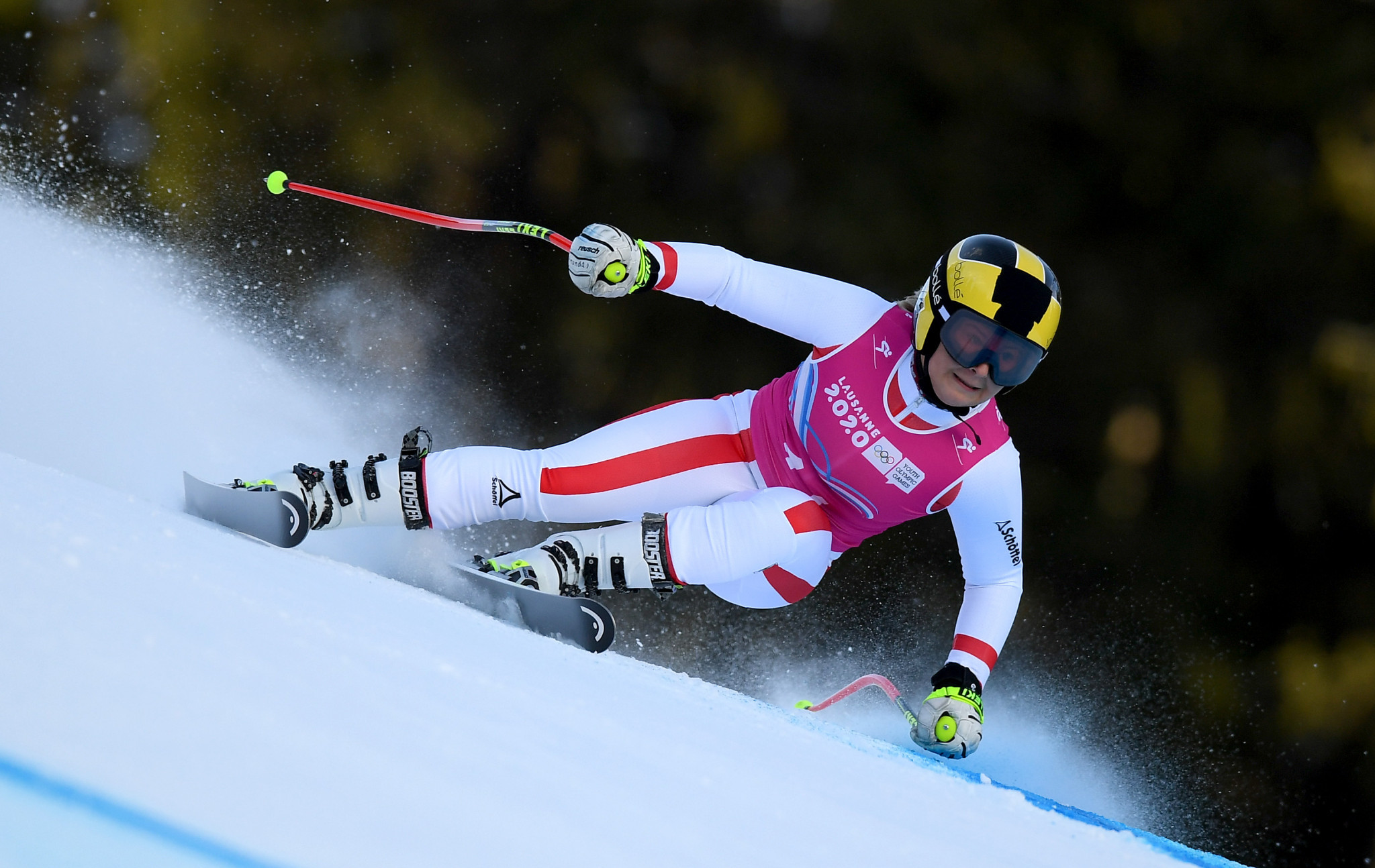 Amanda Salzgeber celebrated gold in the women's alpine combined event ©Getty Images