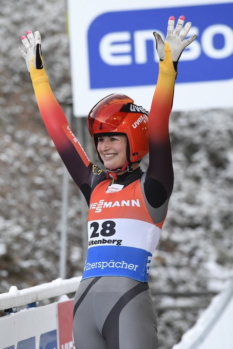 Juila Taubitz of Germany was a home winner at the FIL Luge World Cup event in Altenberg ©FIL Twitter