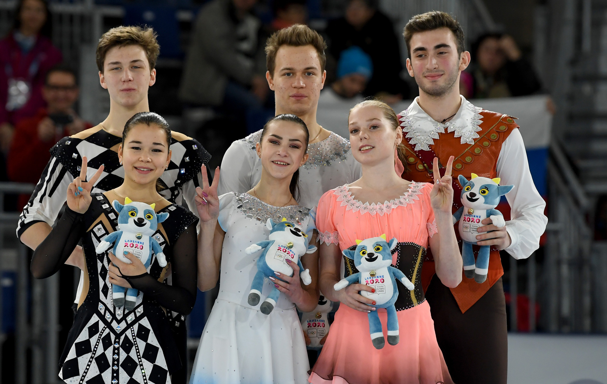 Russia celebrated gold and silver in the pairs competition ©Getty Images