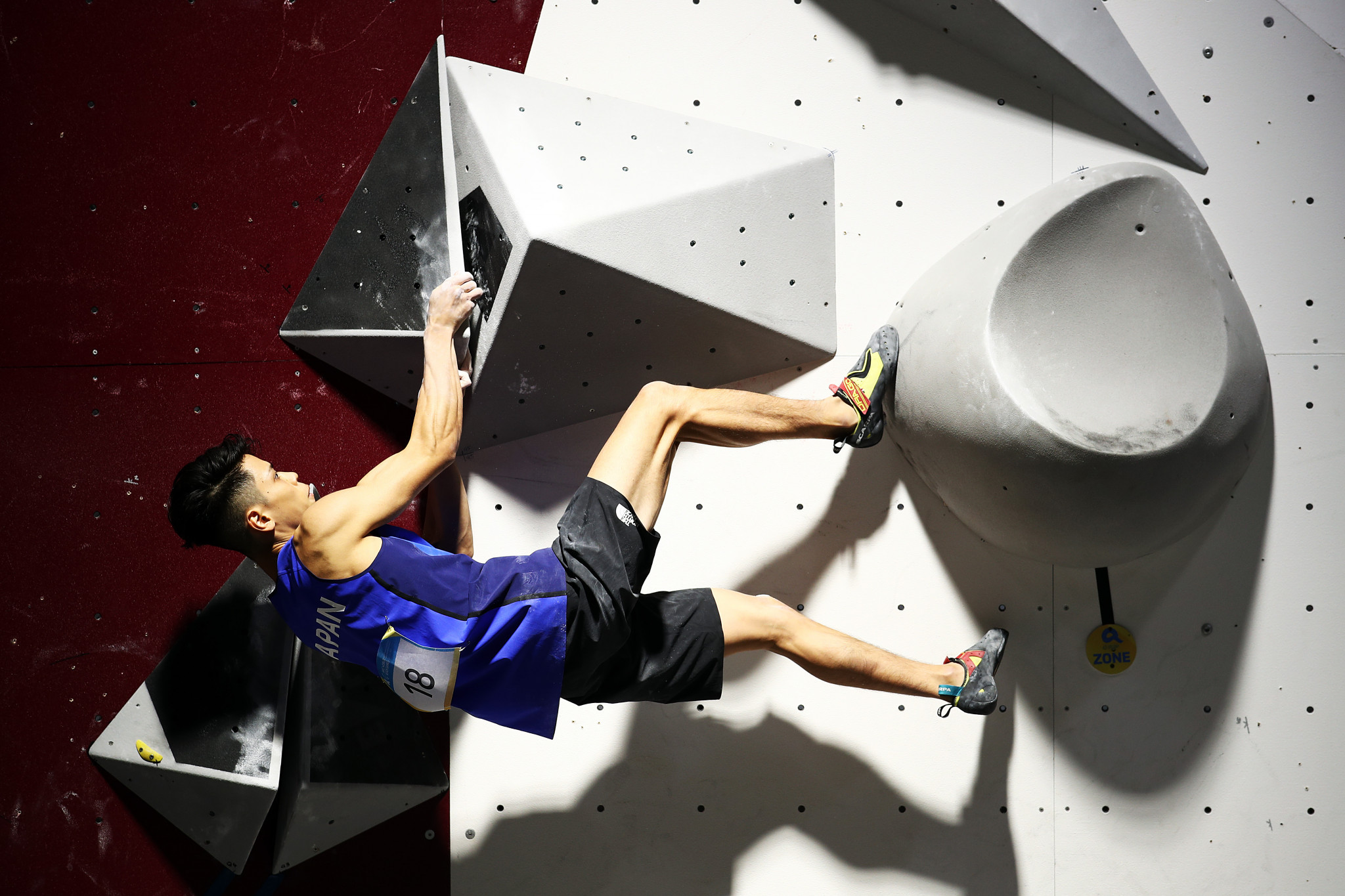 Japan's 18-year-old 2018 world bouldering champion Kai Harada walked up walls during the ANOC Beach Games ©Getty Images