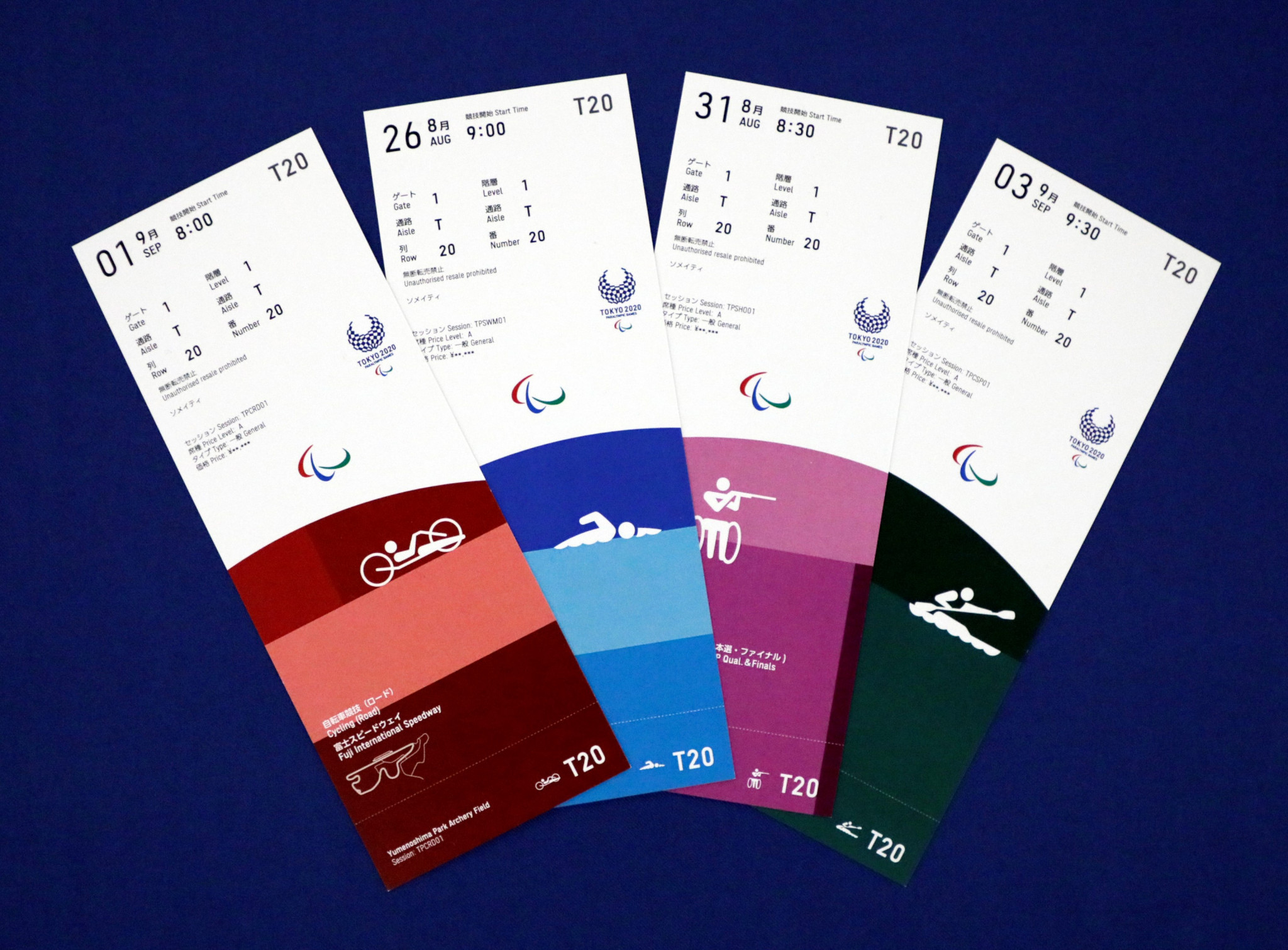 The Paralympic tickets unveiled today by organisers ©Tokyo 2020