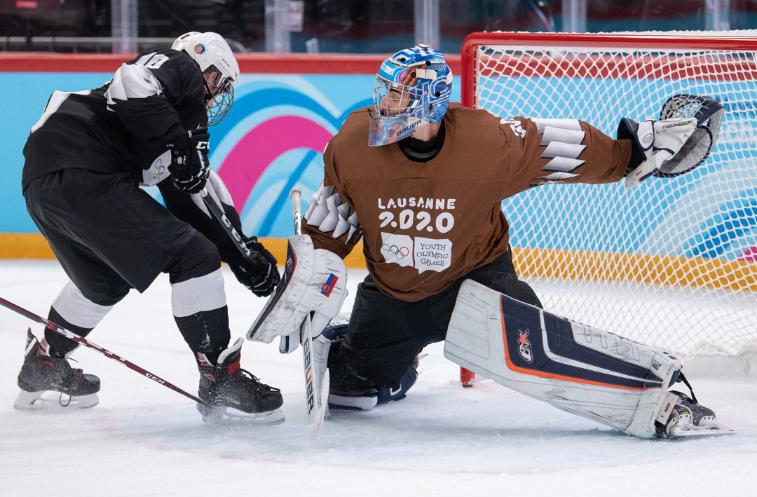 The 3x3 ice hockey tournament at Lausanne 2020 featured mixed National Olympic Committee teams ©OISphoto