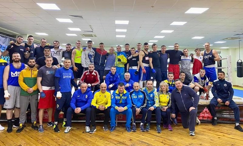 The Ukrainian national boxing team held its first training session of the year yesterday ©BFU